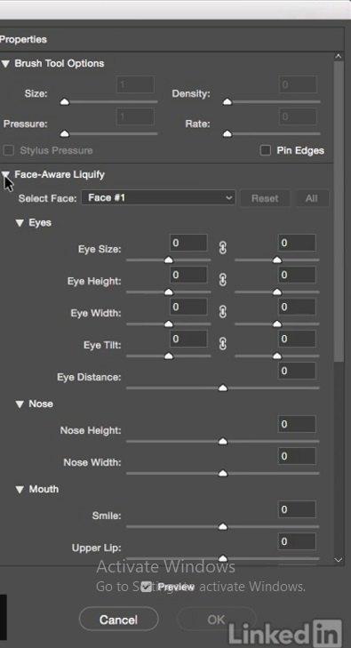باز شدن کادر کنترلهای Face _AwareLiquify در فتوشاپ در آموزش روتوش پرتره