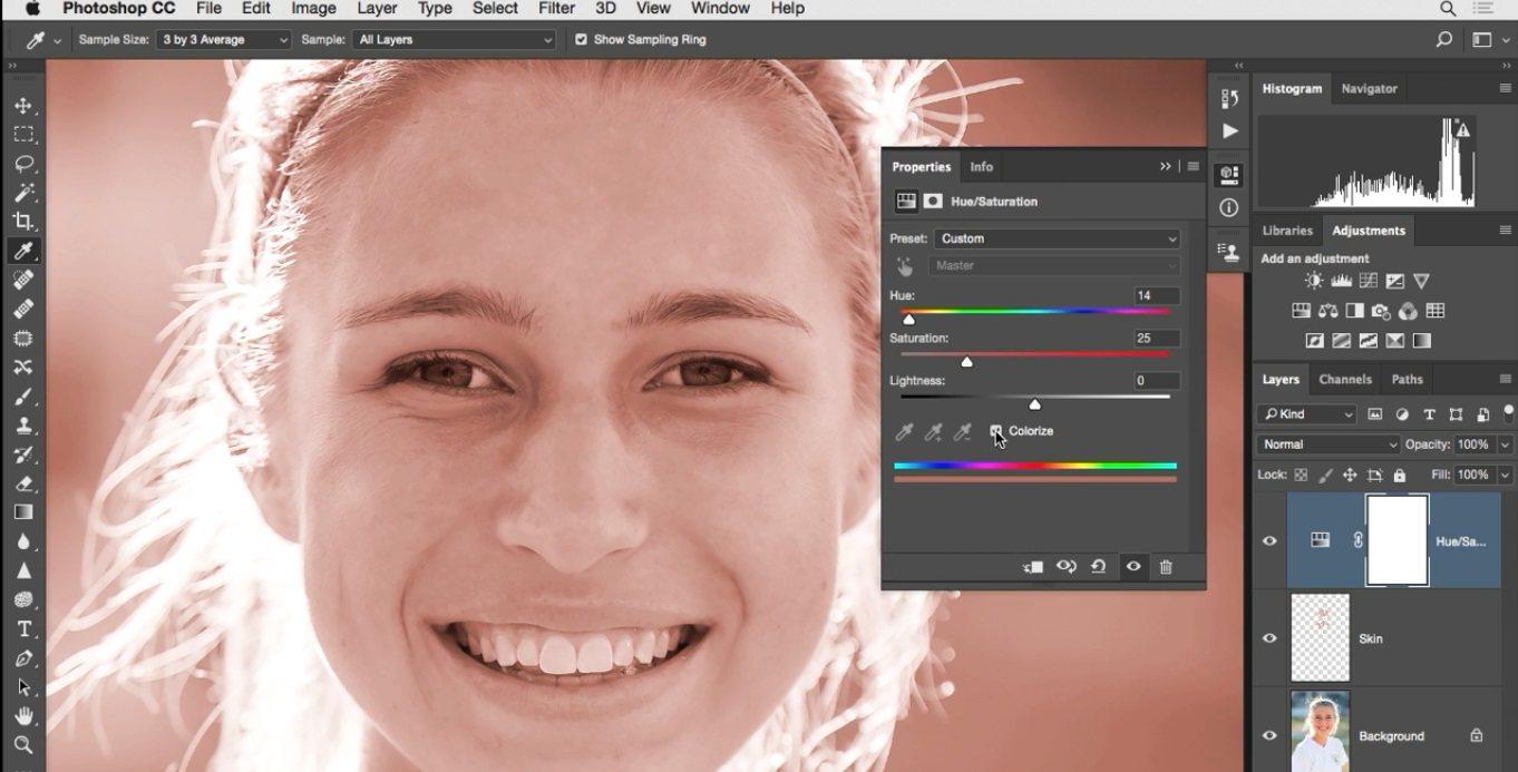 رنگ شدن تمام ناحیه تصویر با نمونه برداری که انجام شد در فتوشاپ در آموزش روتوش پرتره