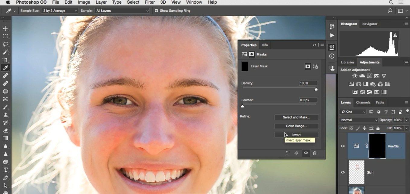 انتخاب ماسک و فعال کردن گزینه ی invert در فتوشاپ در آموزش روتوش پرتره