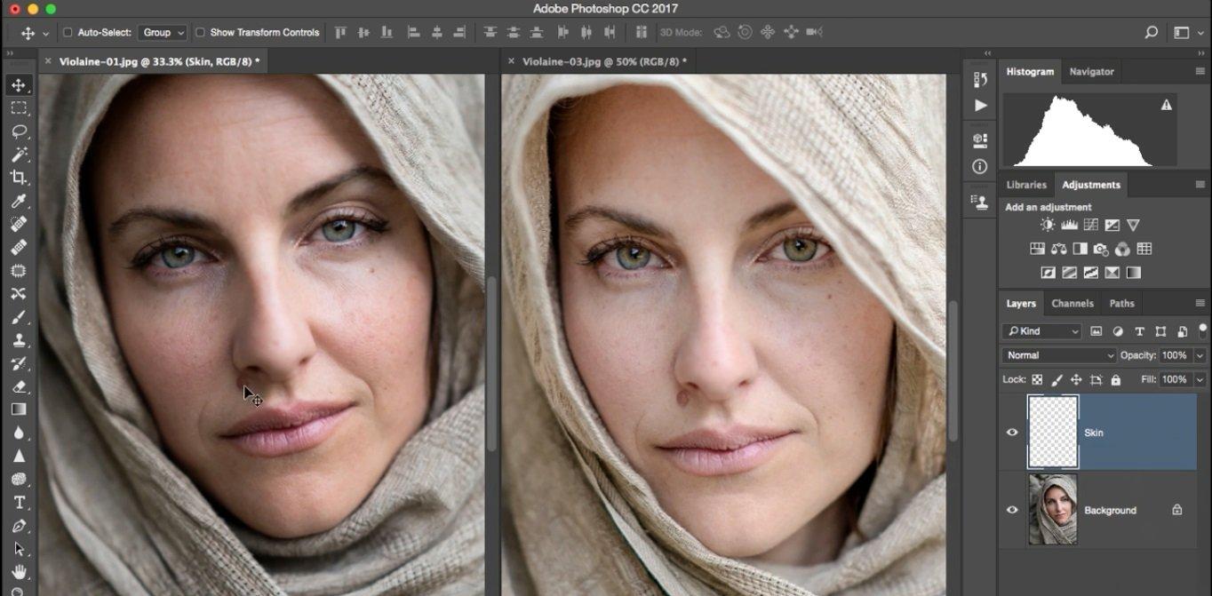 ایجاد لایه جدید به نام skin و حذف خال روی صورت در فتوشاپ از آموزش روتوش پرتره