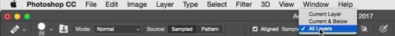فعال بودن گزینه Sample All Layers در فتوشاپ از آموزش روتوش پرتره