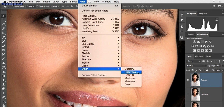استفاده از فیلتر High Pass در منوی فیلتر و انتخاب گزینه ی other در فتوشاپ از آموزش روتوش پرتره