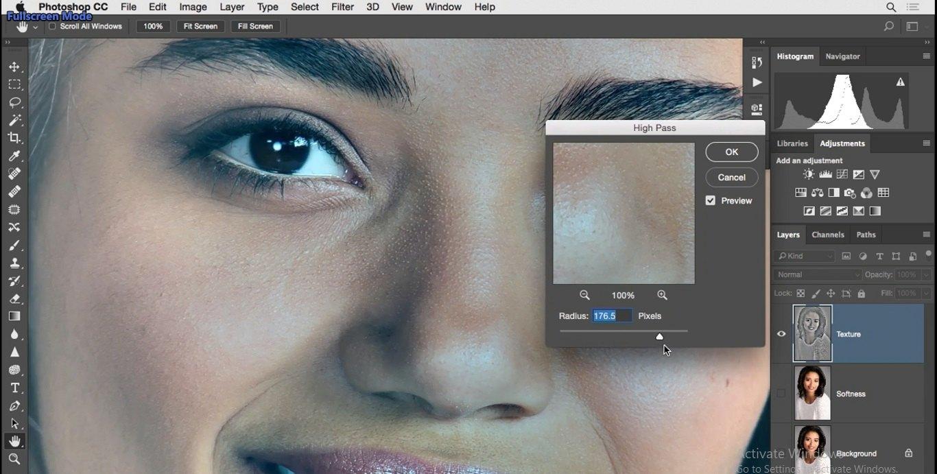 افزیش بیش از حد مقدار radius محتویات تصویرو حتی رنگ به تصویر باز خواهد گشت در فتوشاپ از آموزش روتوش پرتره