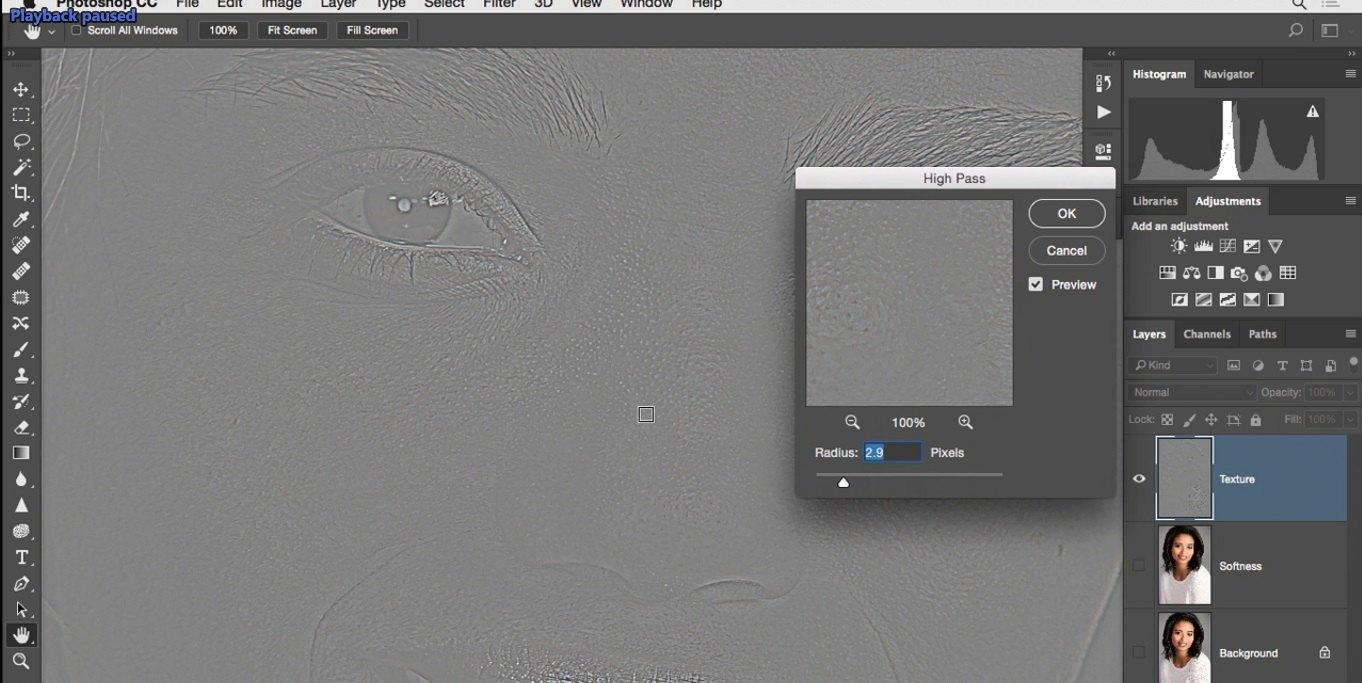 برجسته شدن بخش بافت تصویر در فتوشاپ از آموزش روتوش پرتره