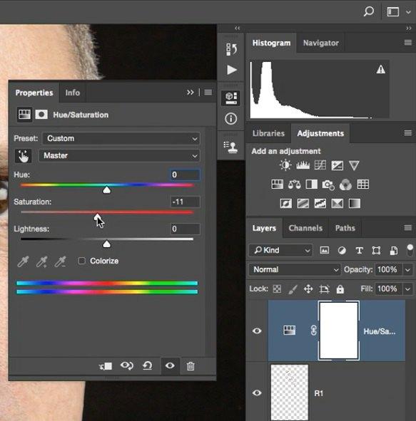 انتخاب کانال رنگی Master و کم کردن مقدار Saturation در فتوشاپ از آموزش روتوش پرتره