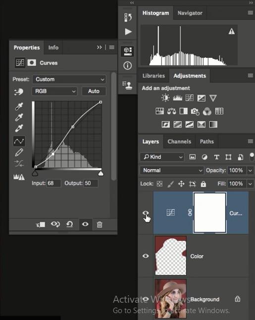 افزایش روشنی تصویر با تغییر دادن منحنی در پنجره ی curves در فتوشاپ از آموزش روتوش پرتره