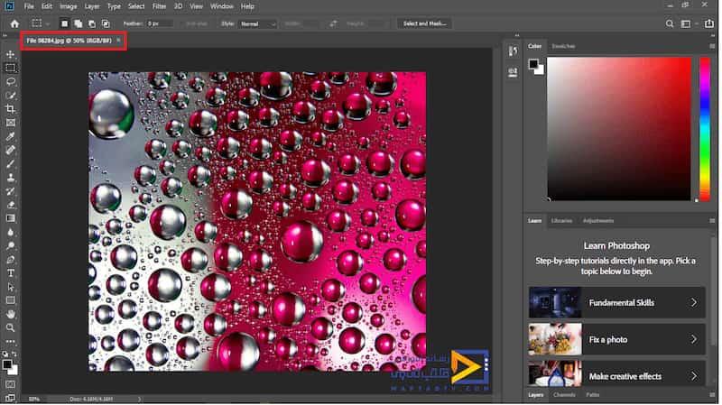 پس از باز کردن تصاویر در فتوشاپ در قسمت بالای صفحه یک عنوان ایجاد میشود که بیانگر ویژگی های تصویر می باشد