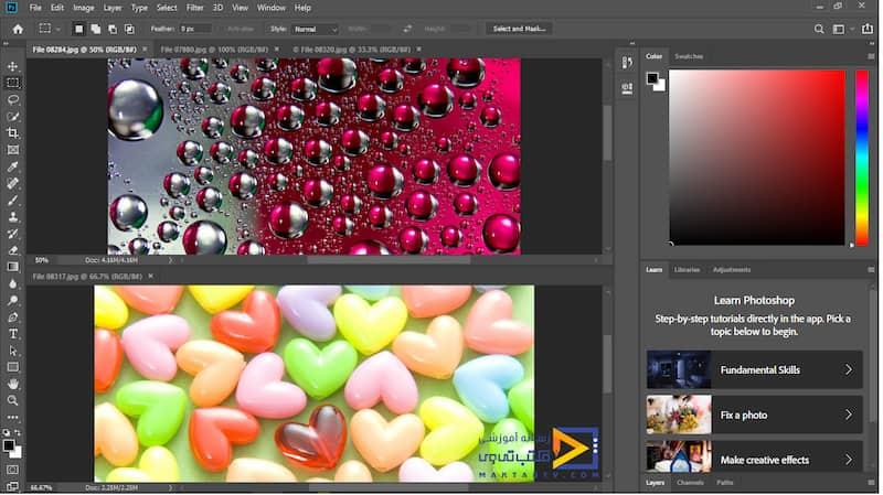 نمایش دو تصویر به صورت سطری،افقی در برنامه فتوشاپ